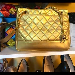 Authentic Gold Chanel Shoulder Bag